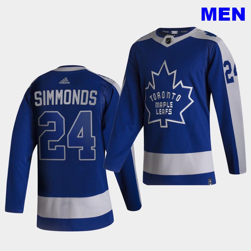 Men's Toronto Maple Leafs #24 Wayne Simmonds 2021 Reverse Retro Blue Special Edition Authentic Jersey