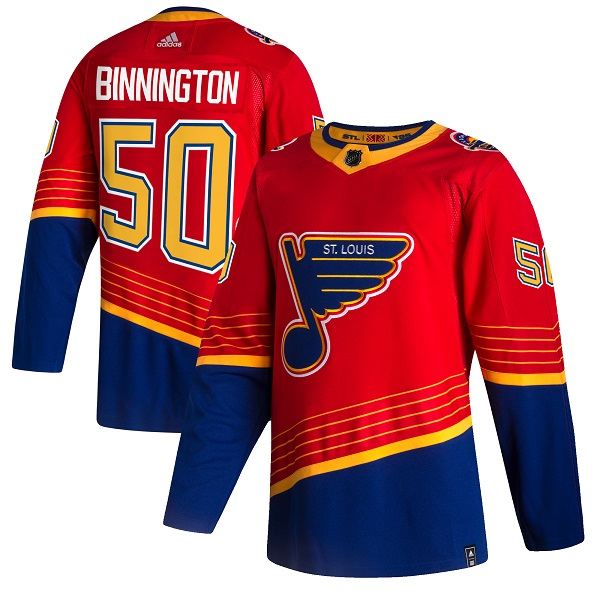 Men's St. Louis Blues #50 Jordan Binnington 2021 Red Reverse Retro Stitched Jersey