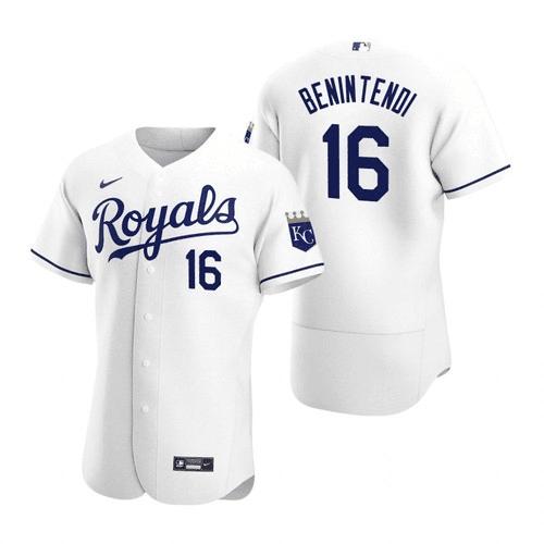 Men's Kansas City Royals #16 Andrew Benintendi White Flex Base Stitched Jersey