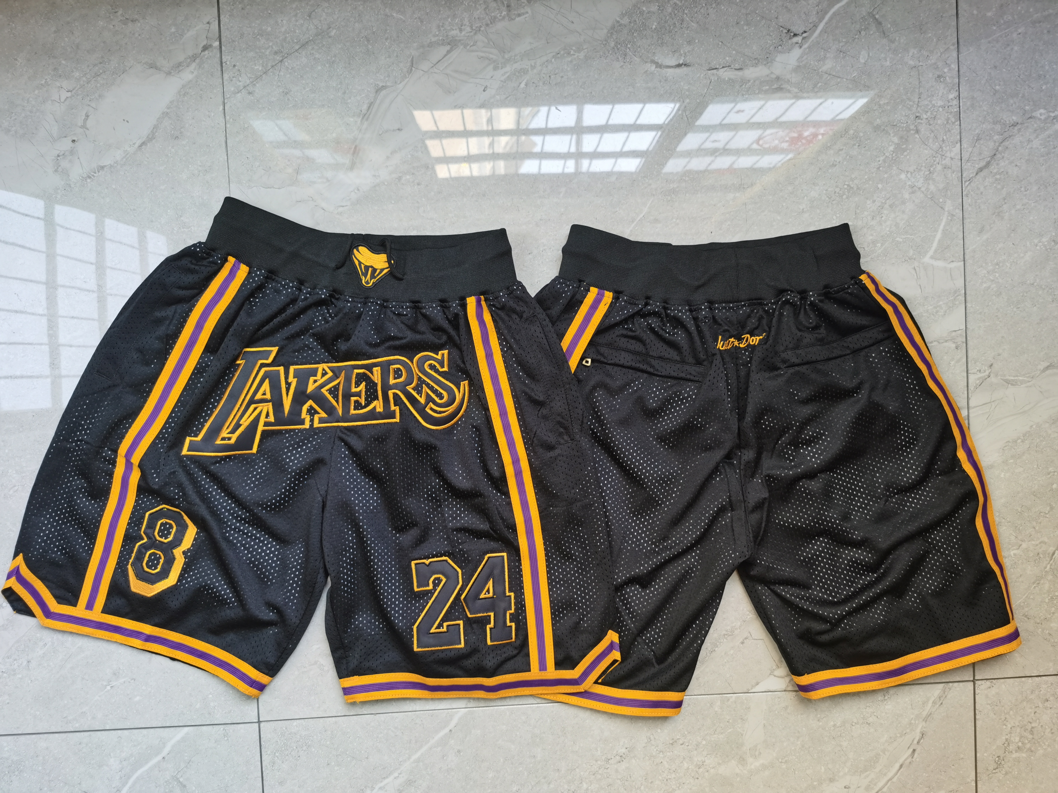 Lakers Teams Black 8 & 24 Just Don With Pocket Swingman Shorts