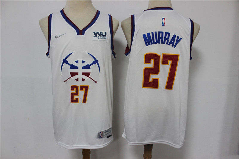 Men's Denver Nuggets #27 Jamal Murray White Nike Swingman 2021 Earned Edition Stitched Jersey With Sponsor Logo
