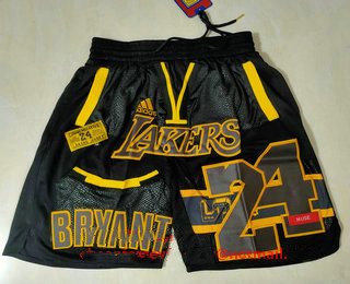 Men's Los Angeles Lakers #24 Kobe Bryant Black Golden Retired Commemorative Soul Swingman Shorts