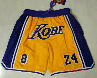 Men's Los Angeles Lakers #8 #24 Kobe Bryant Yellow With Purple Number Just Don Swingman Throwback Shorts