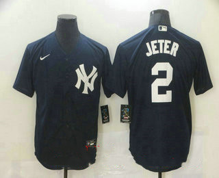 Men's New York Yankees #2 Derek Jeter Navy Blue Stitched MLB Nike Cool Base Jersey