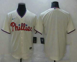 Men's Philadelphia Phillies Blank Cream Stitched MLB Cool Base Nike Jersey