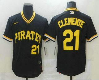 Men's Pittsburgh Pirates #21 Roberto Clemente Black Mesh Batting Practice Throwback Nike Jersey
