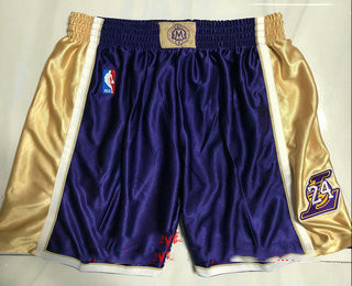 Men's Los Angeles Lakers #8 #24 Kobe Bryant Purple 1996-2016 The Hall of Fame Throwback Shorts