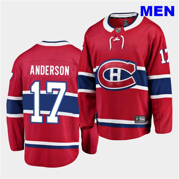 Men's Montreal Canadiens #17 Josh Anderson 2020-21 Home Men Red Breakaway Player Jersey