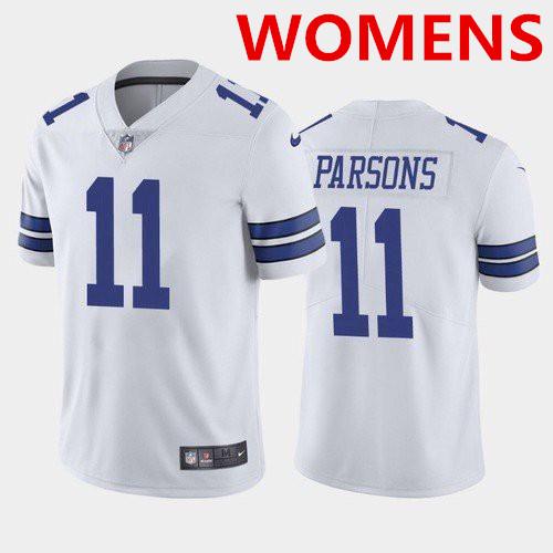 Women's Dallas Cowboys #11 micah parsons White 2021 draft jersey