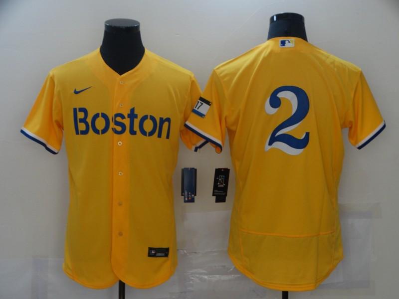 Men's Boston Red Sox #2 Xander Bogaerts Gold 2021 City Connect Stitched MLB Flex Base Nike Jerseys