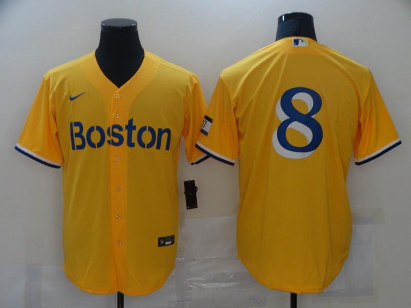 Men's Boston Red Sox #8 Carl Yastrzemski Gold 2021 City Connect Stitched MLB Cool Base Nike Jersey