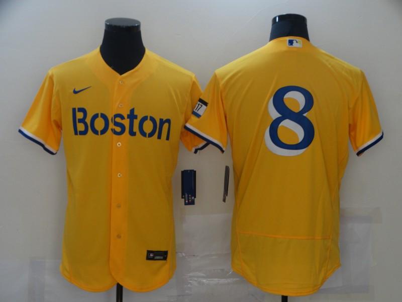 Men's Boston Red Sox #8 Carl Yastrzemski Gold 2021 City Connect Stitched MLB Flex Base Nike Jersey