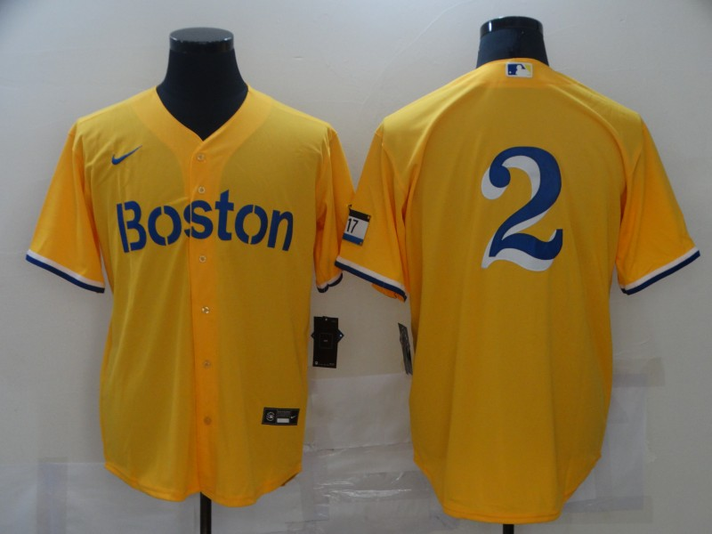 Men's Boston Red Sox #2 Xander Bogaerts Gold 2021 City Connect Stitched MLB Cool Base Nike Jersey