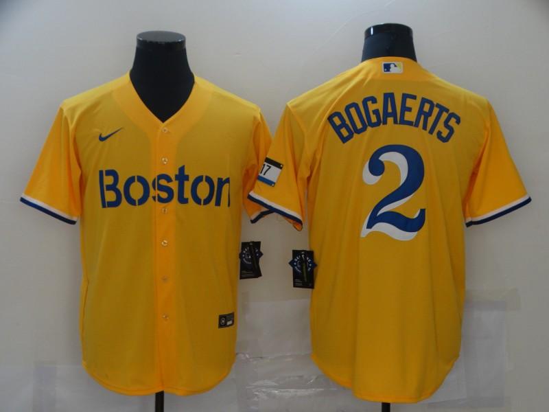 Men's Boston Red Sox #2 Xander Bogaerts Gold 2021 City Connect Stitched MLB Flex Base Nike Jersey