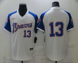 Men's Atlanta Braves #13 Ronald Acuna Jr. White Stitched MLB Throwback Nike Jersey