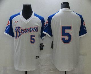 Men's Atlanta Braves #5 Freddie Freeman White Stitched MLB Throwback Nike Jersey
