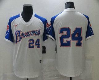 Men's Atlanta Braves #24 Deion Sanders White Stitched MLB Throwback Nike Jersey