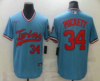 Men's Minnesota Twins #34 Kirby Puckett Light Blue Pullover Throwback Cooperstown Nike Jersey