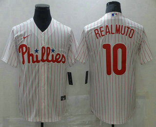 Men's Philadelphia Phillies #10 J.T. Realmuto White Stitched MLB Cool Base Nike Jersey