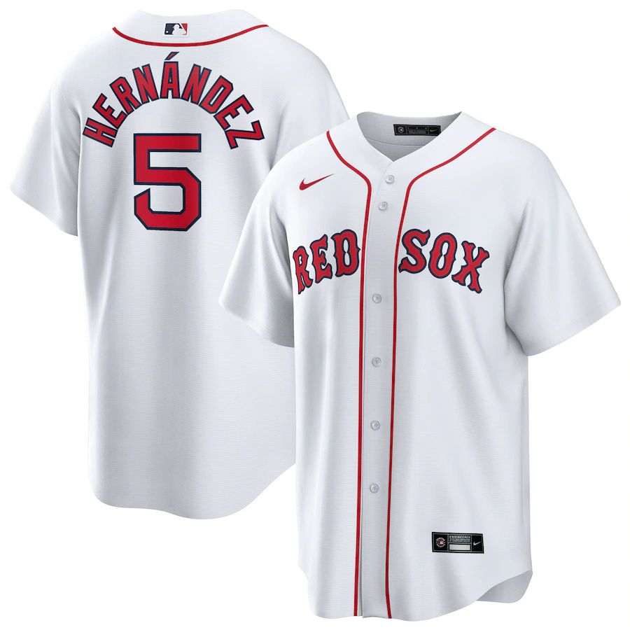 Mens Boston Red Sox 5 Enrique Hernandez Nike White Home Official Replica Player MLB Jerseys