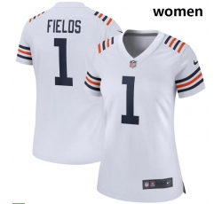 Women Nike Chicago Bears #1 Justin Fields White 2021 NFL Draft First Round Pick Alternate Classic Game Jersey