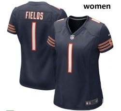 Women Nike Chicago Bears #1 Justin Fields Navy 2021 NFL Draft First Round Pick Game Jersey