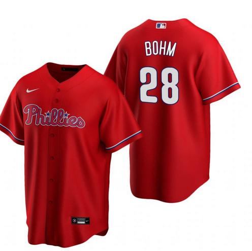 Philadelphia Phillies #28 Alec Bohm Red Alternate stitch Jersey