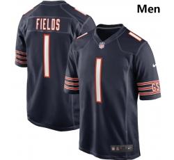 Men Nike Chicago Bears #1 Justin Fields Navy 2021 NFL Draft First Round Pick Game Jersey