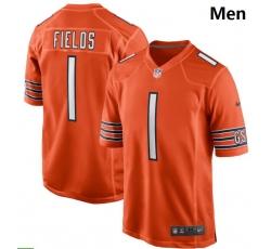 Men Nike Chicago Bears #1 Justin Fields Orange 2021 NFL Draft First Round Pick Alternate Game Jersey
