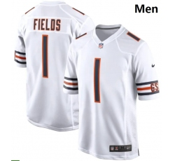 Men Nike Chicago Bears #1 Justin Fields White 2021 NFL Draft First Round Pick Game Jersey