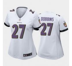 women j.k. dobbins baltimore ravens white game jersey