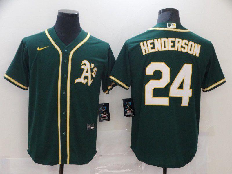 Men Oakland Athletics 24 Henderson Green Game 2021 Nike MLB Jersey