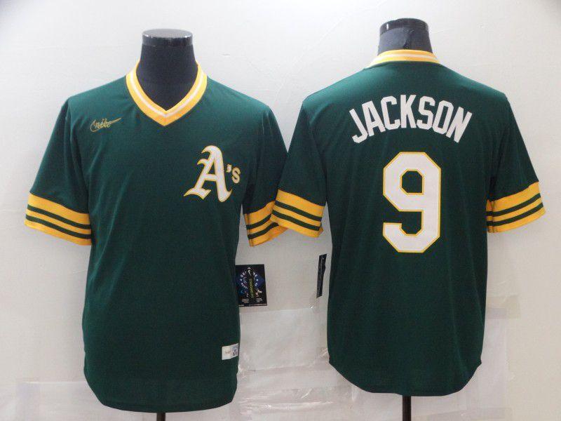 Men Oakland Athletics 9 Jackson Green Game Nike MLB Jersey