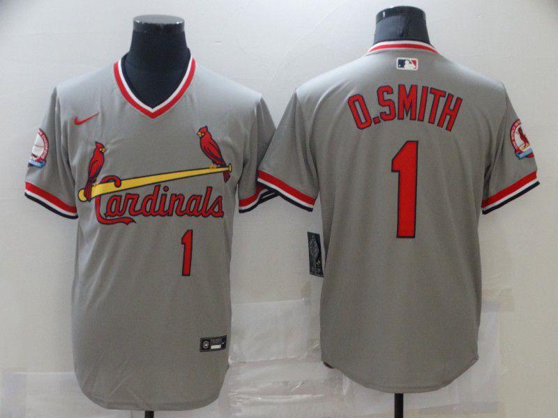 Men St.Louis Cardinals 1 O.Smith Grey Game 2021 Nike MLB Jersey