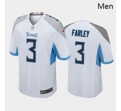 Men Tennessee Titans #3 Caleb Farley White Blue 2021 Draft Jersey