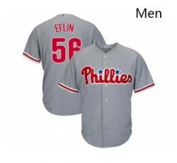Mens Philadelphia Phillies 56 Zach Eflin Replica Grey Road Cool Base Baseball Jersey