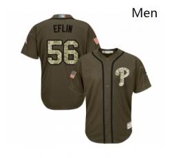 Mens Philadelphia Phillies 56 Zach Eflin Authentic Green Salute to Service Baseball Jersey