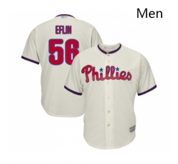 Mens Philadelphia Phillies 56 Zach Eflin Replica Cream Alternate Cool Base Baseball Jersey