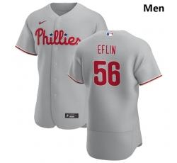 Philadelphia Phillies 56 Zach Eflin Men Nike Gray Road 2020 Authentic Player MLB Jersey