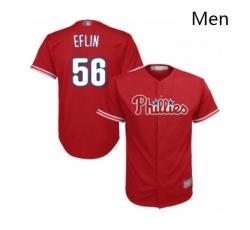 Mens Philadelphia Phillies 56 Zach Eflin Replica Red Alternate Cool Base Baseball Jersey