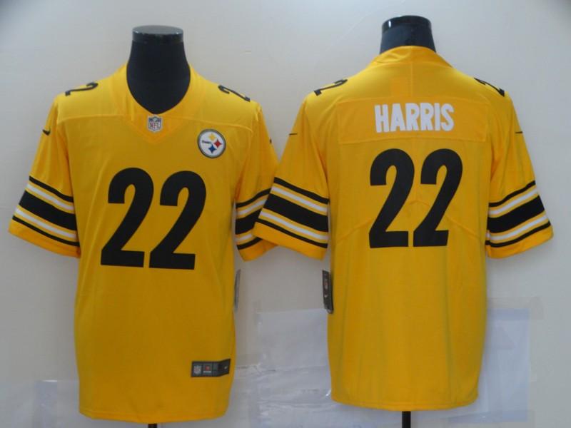 Men Pittsburgh Steelers 22 Harris Yellow Nike Vapor Untouchable Limited 2021 NFL Jersey