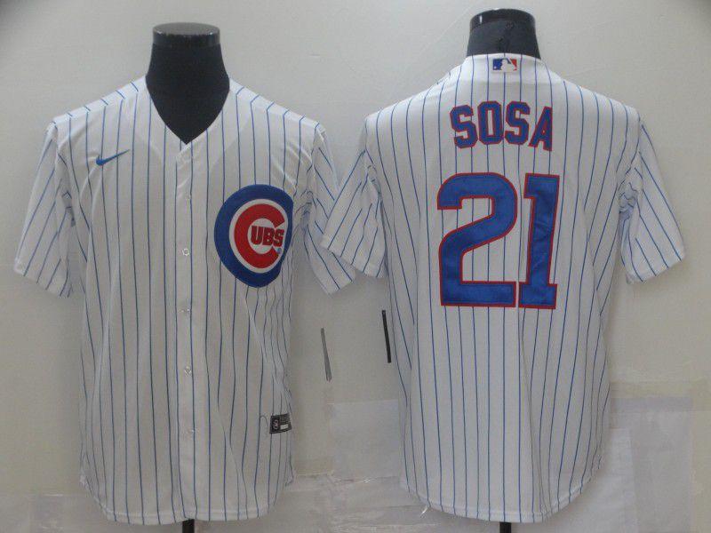Men Chicago Cubs 21 Sosa White Game Nike MLB Jerseys