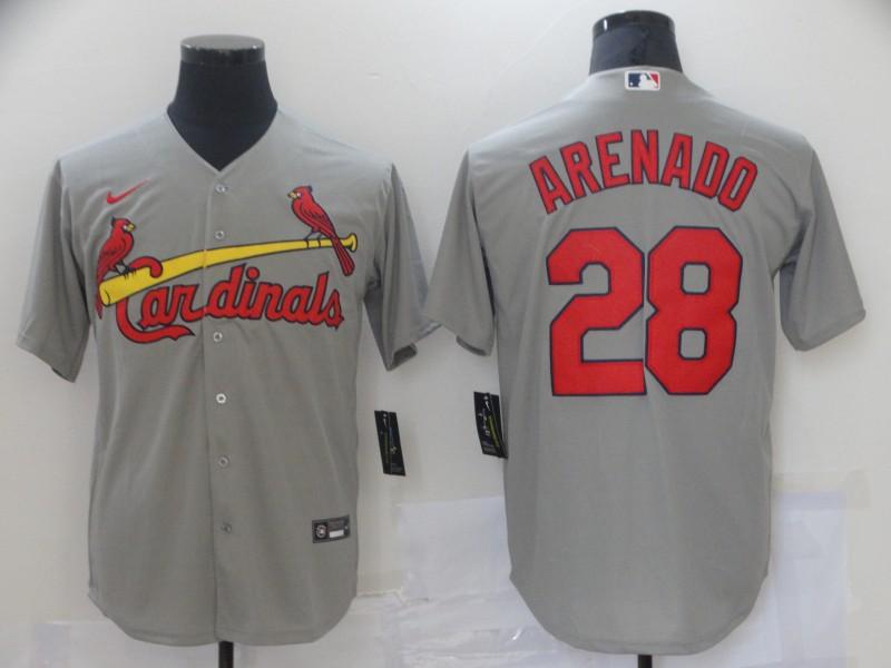 Men St.Louis Cardinals 28 Arenado Grey Game 2021 Nike MLB Jersey