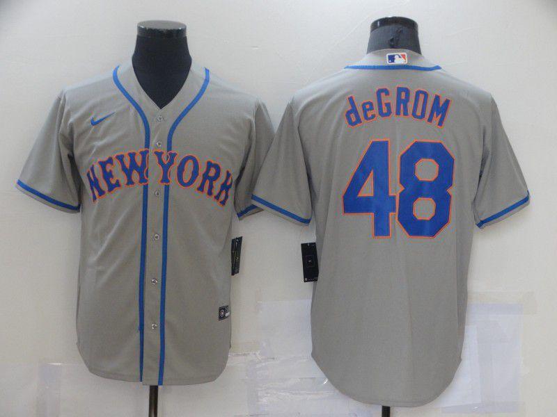 Men New York Mets 48 Degrom Grey Game Nike MLB Jerseys