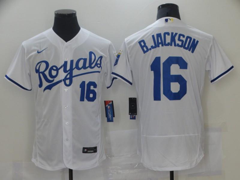 Men's Kansas City Royals #16 Bo Jackson White Stitched MLB Flex Base Nike Jersey