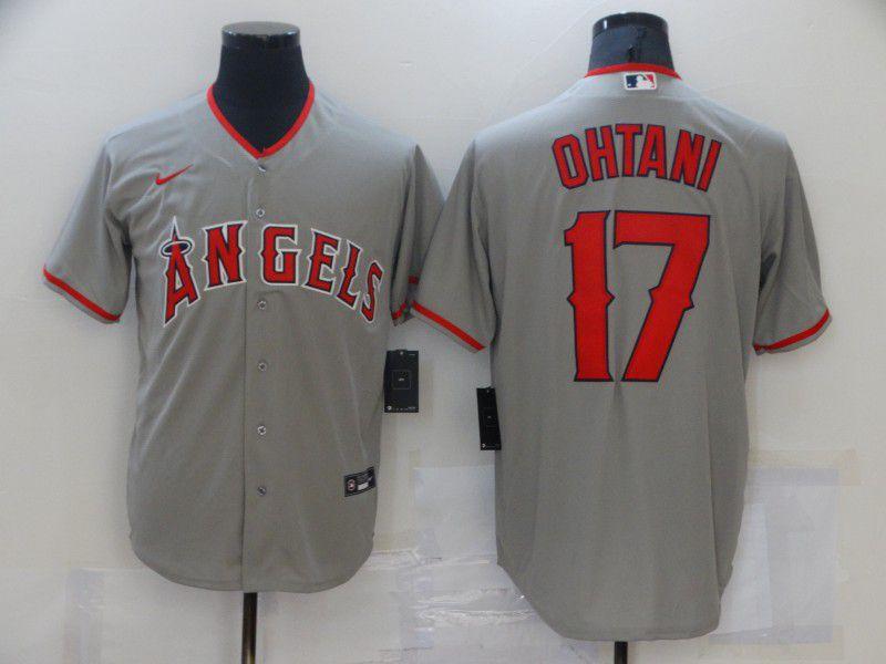 Men's Los Angeles Angels #17 Shohei Ohtani Grey Stitched MLB Cool Base Nike Jersey