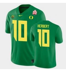Men Oregon Ducks Justin Herbert 2021 Fiesta Bowl Green Game Jersey 0A