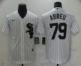 Men's Chicago White Sox #79 Jose Abreu White Pinstripe Stitched MLB Cool Base Nike Jersey
