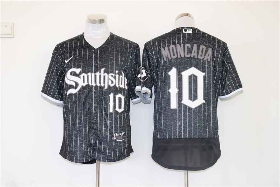 Men's Chicago White Sox #10 Yoan Moncada Black 2021 City Connect Stitched MLB Flex Base Nike Jersey