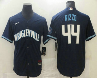 Men's Chicago Cubs #44 Anthony Rizzo Navy Blue 2021 City Connect Stitched MLB Cool Base Nike Jersey